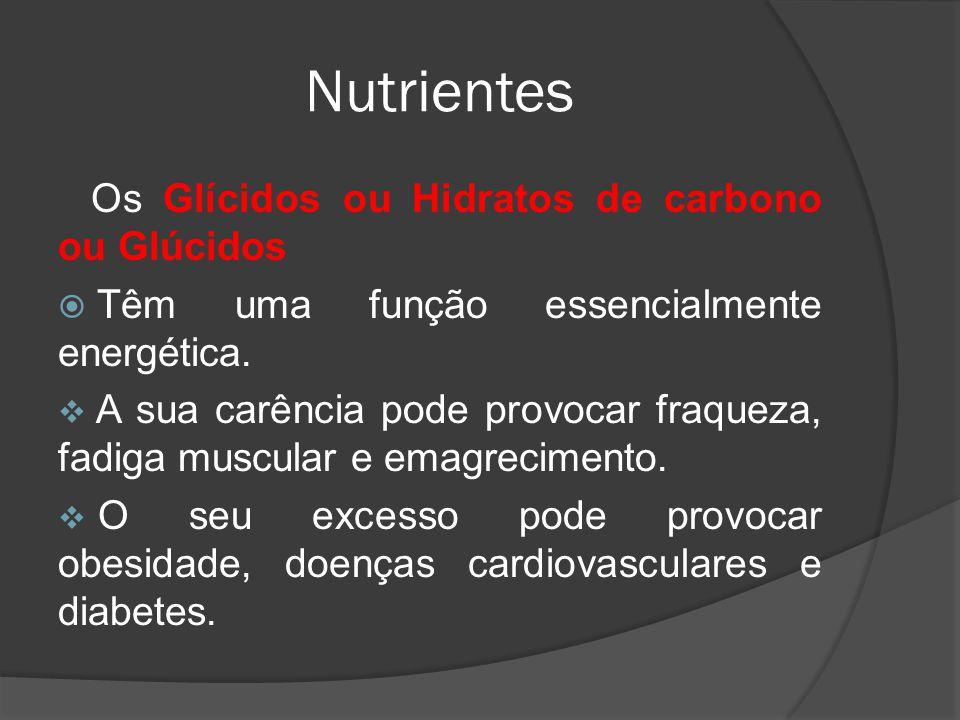 Nutrientes Os Glícidos ou Hidratos de carbono ou Glúcidos