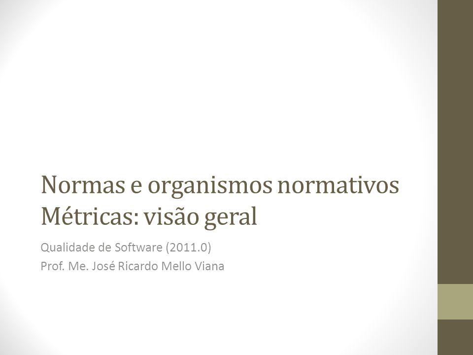 Normas e organismos normativos Métricas: visão geral