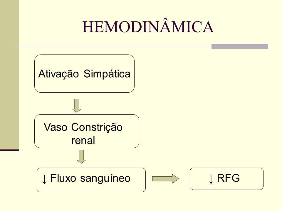 HEMODINÂMICA Ativação Simpática Vaso Constrição renal