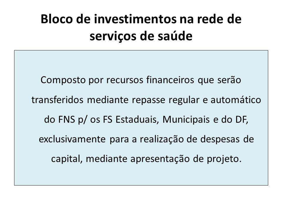 Bloco de investimentos na rede de serviços de saúde