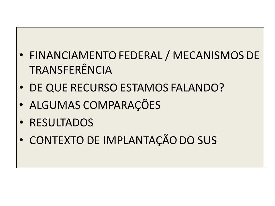 FINANCIAMENTO FEDERAL / MECANISMOS DE TRANSFERÊNCIA