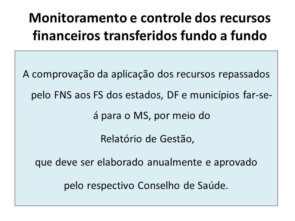 Monitoramento e controle dos recursos financeiros transferidos fundo a fundo