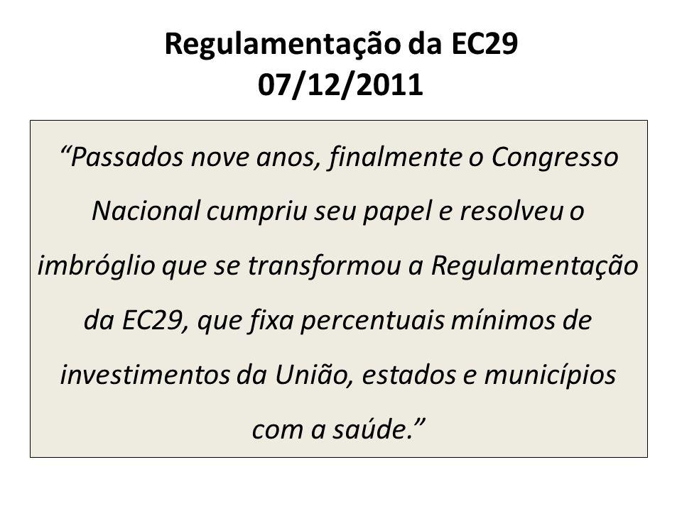 Regulamentação da EC29 07/12/2011