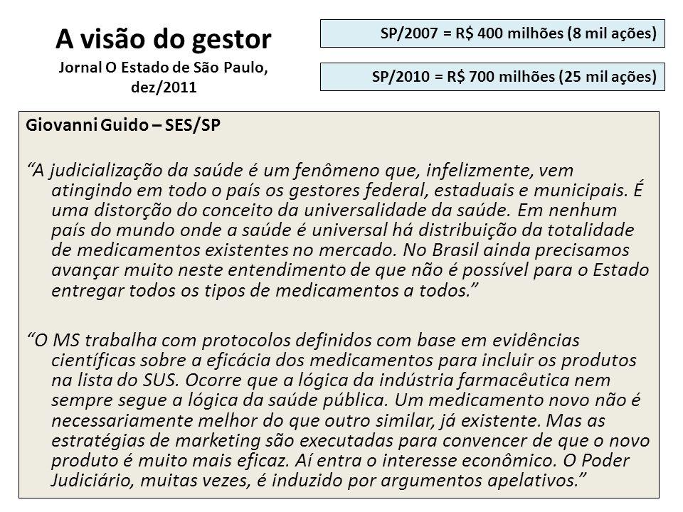 A visão do gestor Jornal O Estado de São Paulo, dez/2011