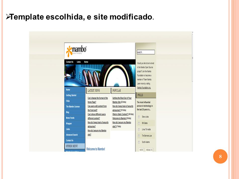 Template escolhida, e site modificado.