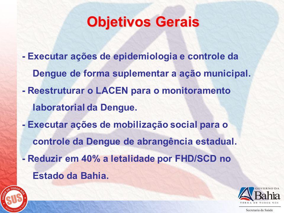 Objetivos Gerais - Executar ações de epidemiologia e controle da Dengue de forma suplementar a ação municipal.
