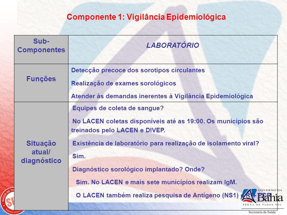 Componente 1: Vigilância Epidemiológica Situação atual/ diagnóstico