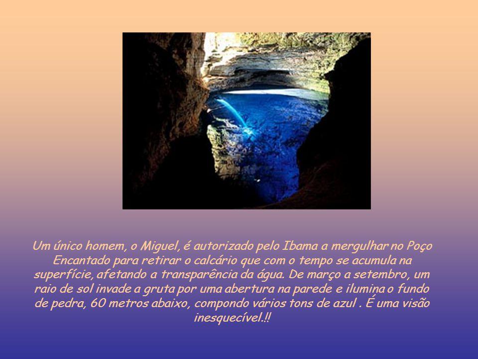 Um único homem, o Miguel, é autorizado pelo Ibama a mergulhar no Poço Encantado para retirar o calcário que com o tempo se acumula na superfície, afetando a transparência da água.