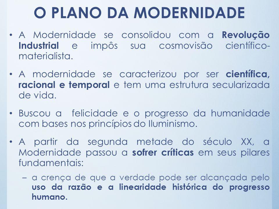 O PLANO DA MODERNIDADE A Modernidade se consolidou com a Revolução Industrial e impôs sua cosmovisão científico- materialista.
