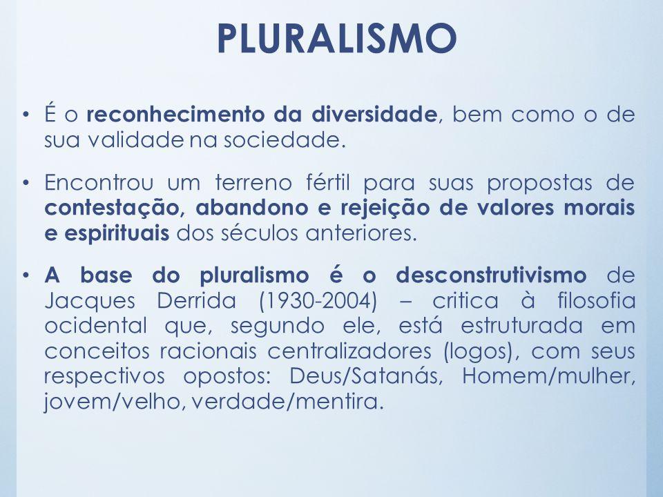 PLURALISMO É o reconhecimento da diversidade, bem como o de sua validade na sociedade.