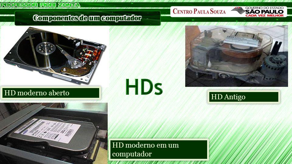 HDs HD moderno aberto HD Antigo HD moderno em um computador