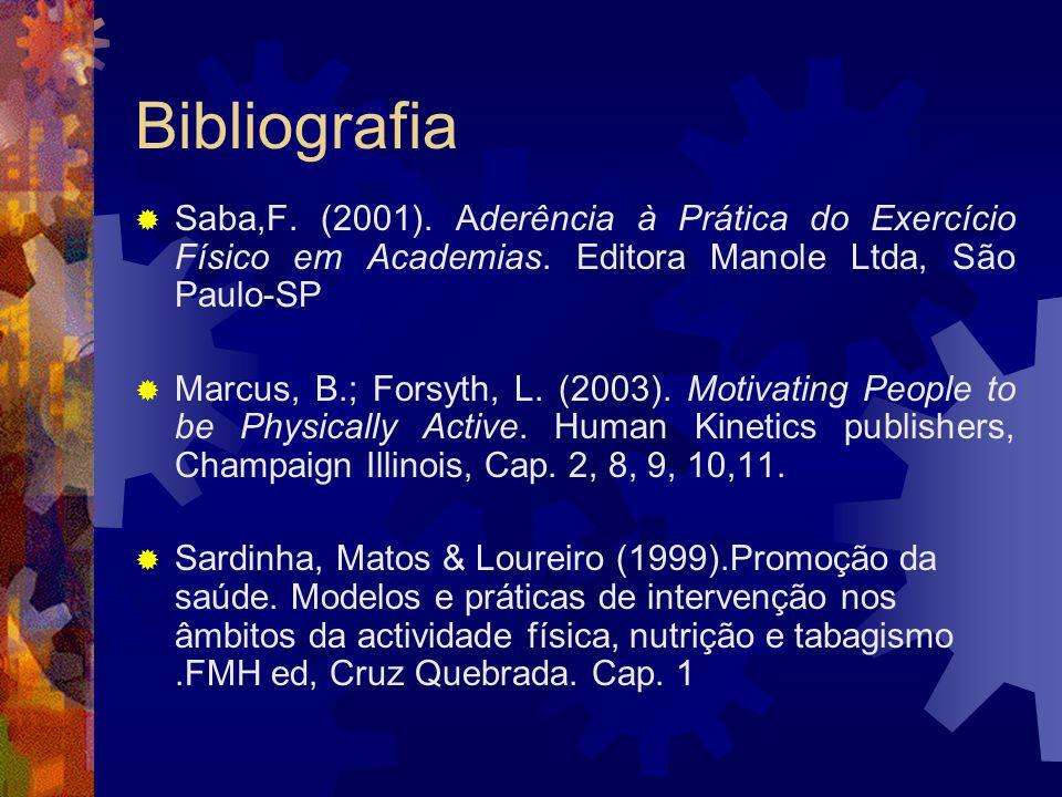 Bibliografia Saba,F. (2001). Aderência à Prática do Exercício Físico em Academias. Editora Manole Ltda, São Paulo-SP.
