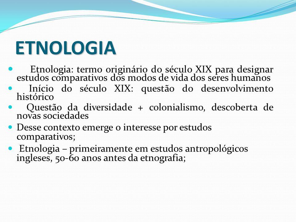ETNOLOGIA Etnologia: termo originário do século XIX para designar estudos comparativos dos modos de vida dos seres humanos.