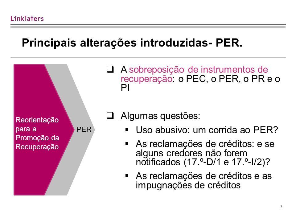 Principais alterações introduzidas- PER.