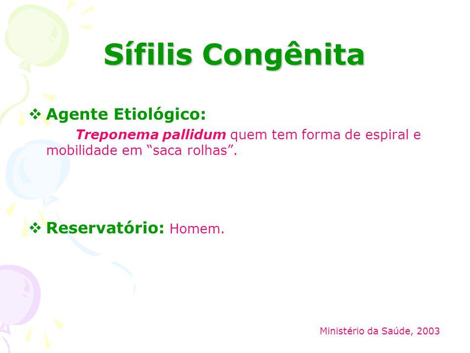 Sífilis Congênita Agente Etiológico: Reservatório: Homem.