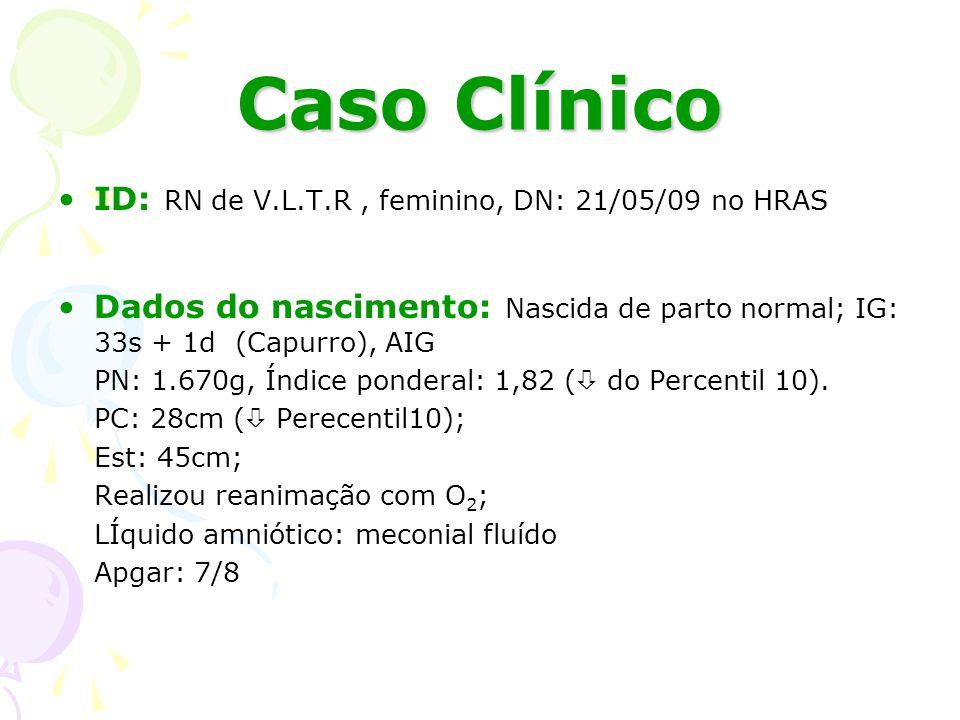 Caso Clínico ID: RN de V.L.T.R , feminino, DN: 21/05/09 no HRAS