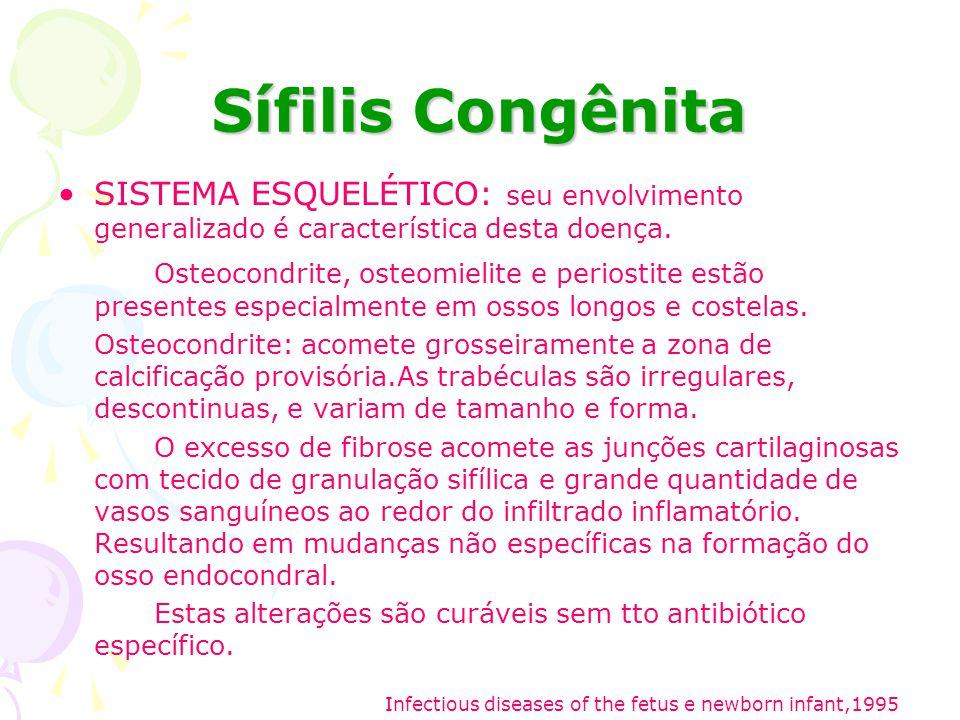 Sífilis Congênita SISTEMA ESQUELÉTICO: seu envolvimento generalizado é característica desta doença.