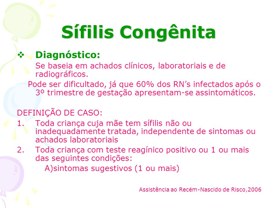 Sífilis Congênita Diagnóstico: