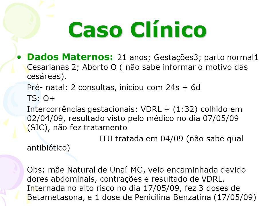 Caso Clínico Dados Maternos: 21 anos; Gestações3; parto normal1 Cesarianas 2; Aborto O ( não sabe informar o motivo das cesáreas).