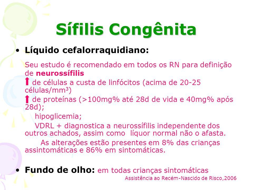 Sífilis Congênita Líquido cefalorraquidiano: Seu estudo é recomendado em todos os RN para definição de neurossífilis.