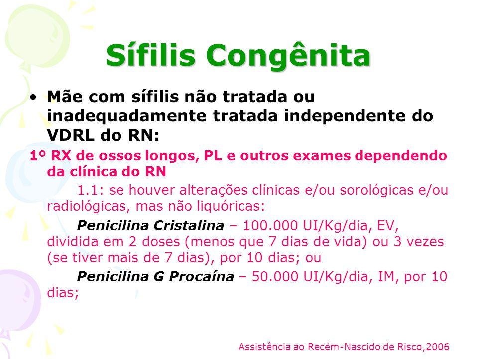Sífilis Congênita Mãe com sífilis não tratada ou inadequadamente tratada independente do VDRL do RN: