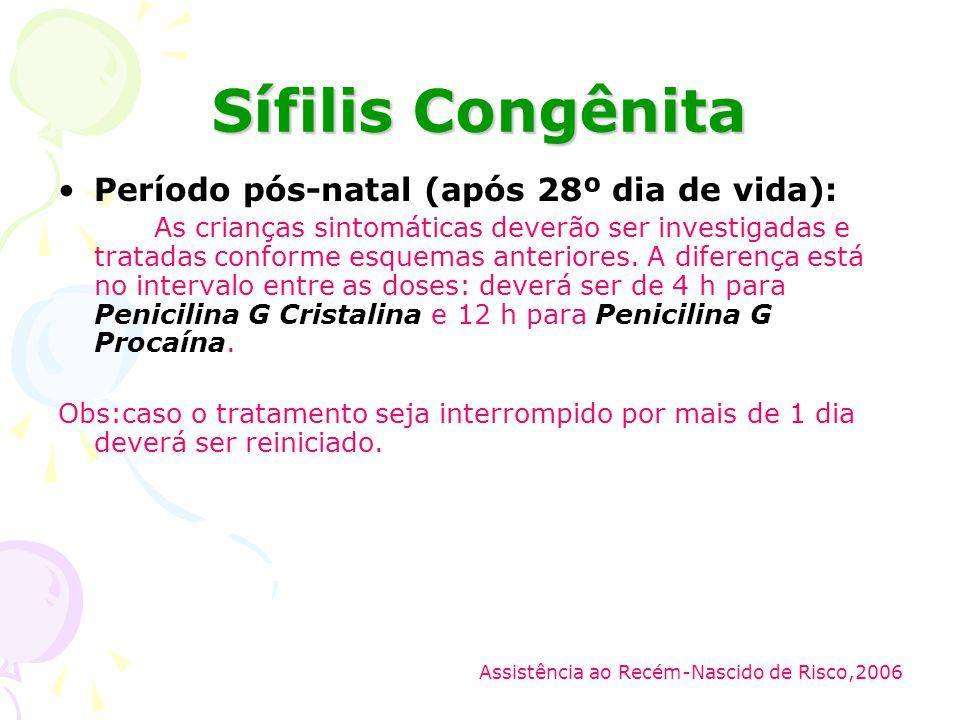 Sífilis Congênita Período pós-natal (após 28º dia de vida):