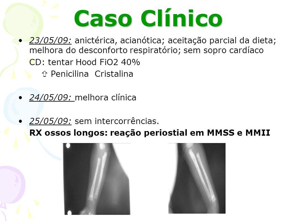 Caso Clínico 23/05/09: anictérica, acianótica; aceitação parcial da dieta; melhora do desconforto respiratório; sem sopro cardíaco.