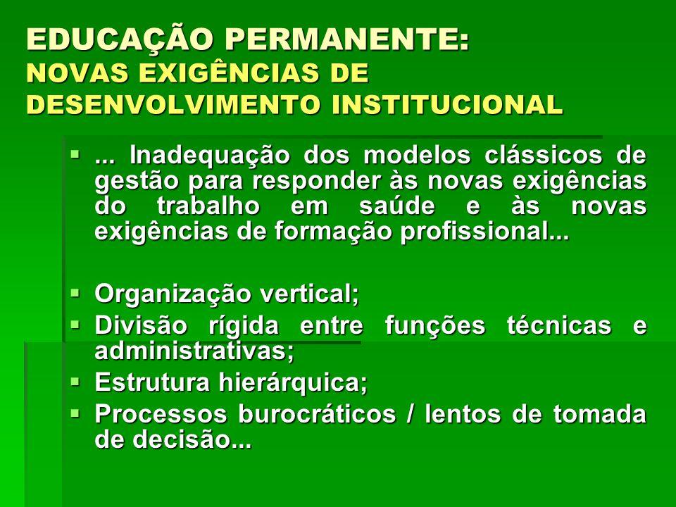 EDUCAÇÃO PERMANENTE: NOVAS EXIGÊNCIAS DE DESENVOLVIMENTO INSTITUCIONAL