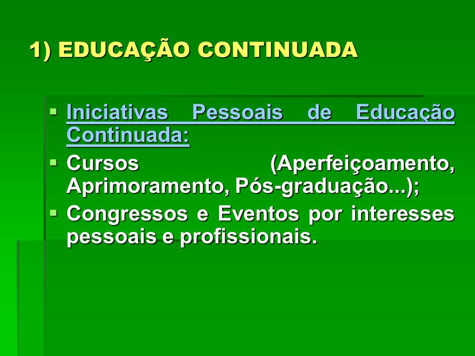 1) EDUCAÇÃO CONTINUADA Iniciativas Pessoais de Educação Continuada: Cursos (Aperfeiçoamento, Aprimoramento, Pós-graduação...);
