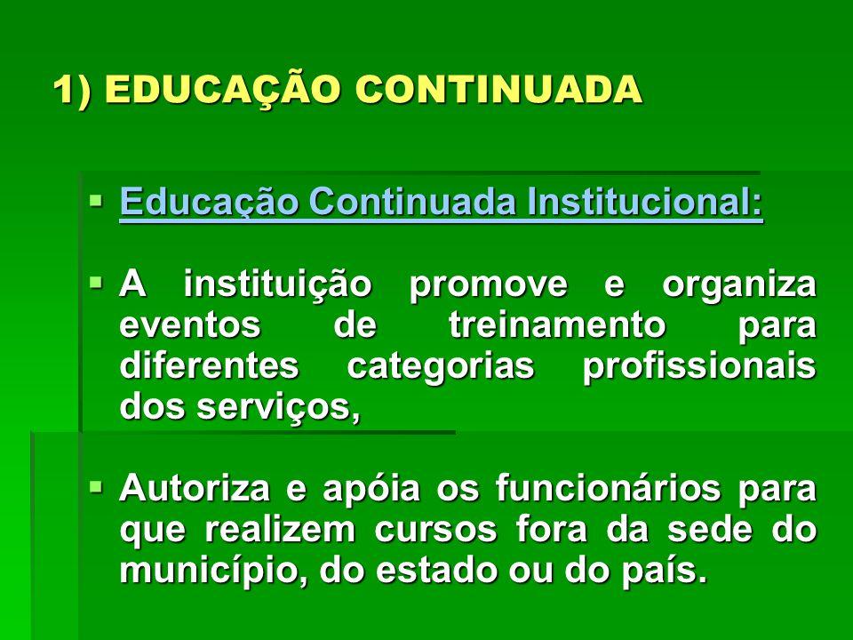 1) EDUCAÇÃO CONTINUADA Educação Continuada Institucional: