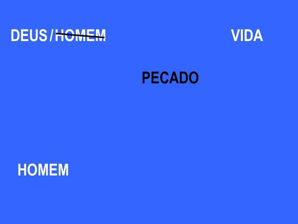 DEUS / HOMEM VIDA PECADO HOMEM