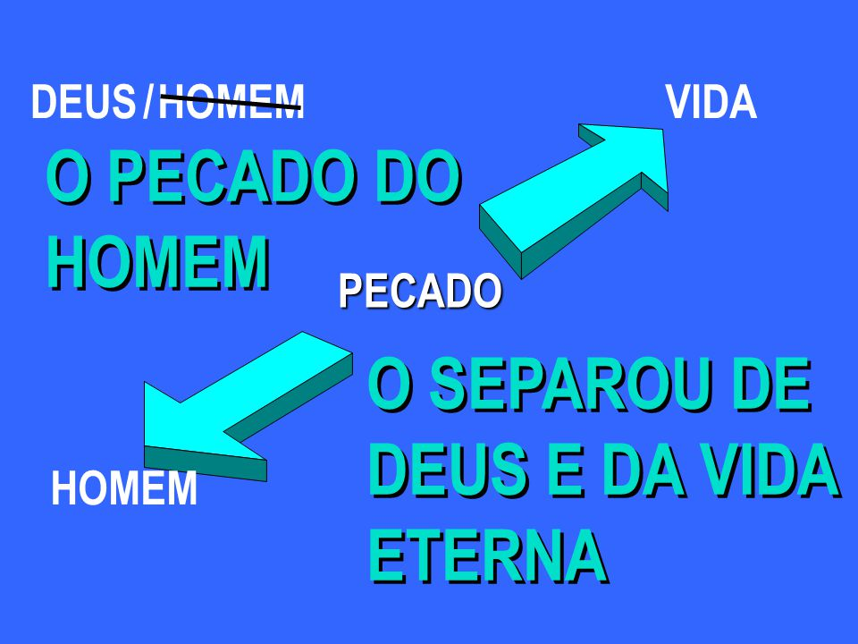O PECADO DO HOMEM O SEPAROU DE DEUS E DA VIDA ETERNA DEUS / HOMEM VIDA