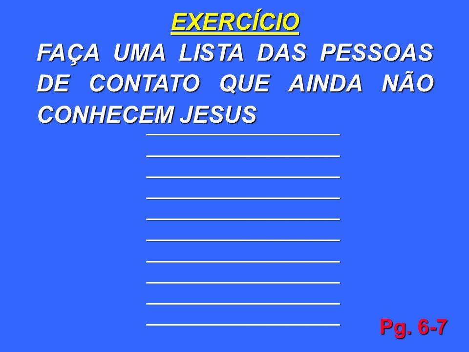 FAÇA UMA LISTA DAS PESSOAS DE CONTATO QUE AINDA NÃO CONHECEM JESUS