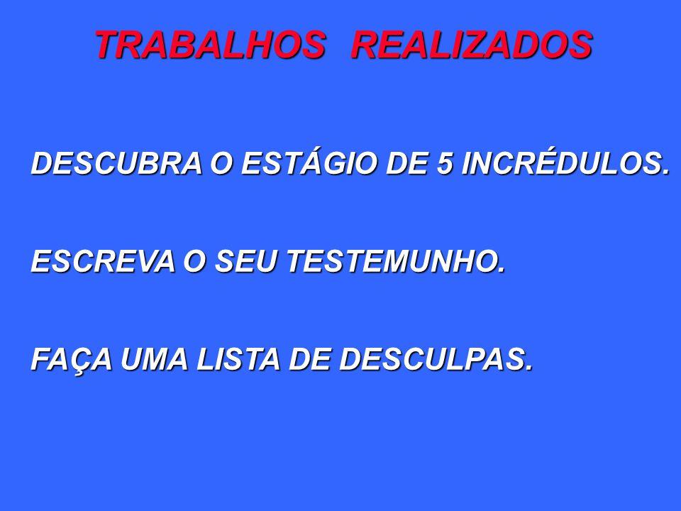 TRABALHOS REALIZADOS DESCUBRA O ESTÁGIO DE 5 INCRÉDULOS.