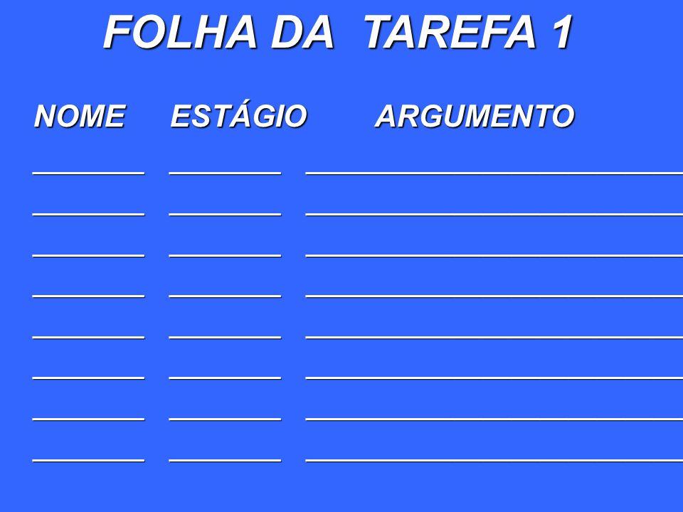 FOLHA DA TAREFA 1 NOME ESTÁGIO ARGUMENTO