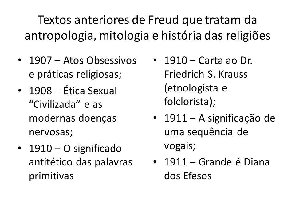 Textos anteriores de Freud que tratam da antropologia, mitologia e história das religiões