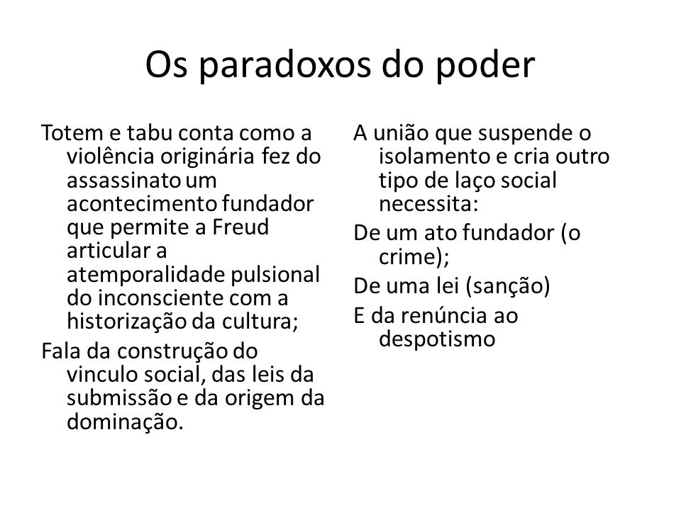 Os paradoxos do poder