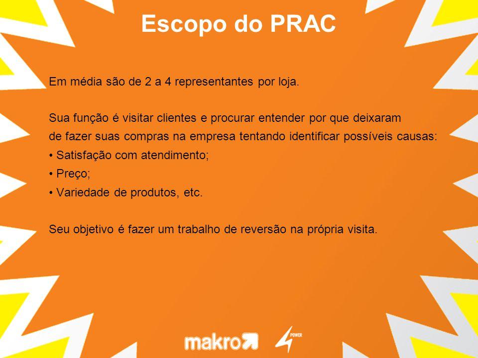 Escopo do PRAC Em média são de 2 a 4 representantes por loja.
