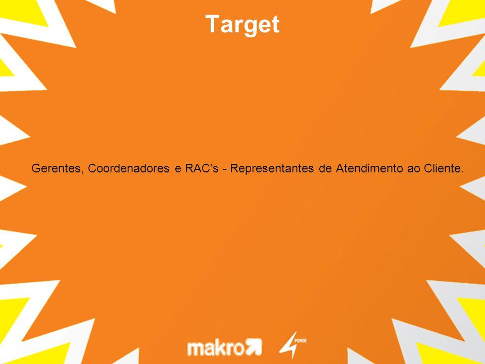 Target Gerentes, Coordenadores e RAC's - Representantes de Atendimento ao Cliente.