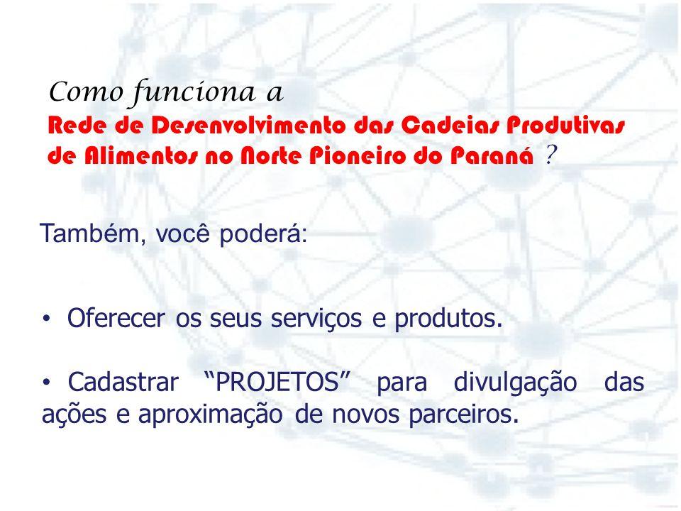 Também, você poderá: Como funciona a. Rede de Desenvolvimento das Cadeias Produtivas. de Alimentos no Norte Pioneiro do Paraná