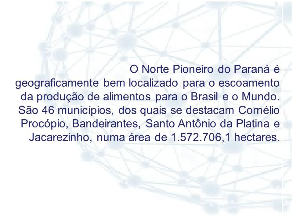 O Norte Pioneiro do Paraná é geograficamente bem localizado para o escoamento da produção de alimentos para o Brasil e o Mundo.