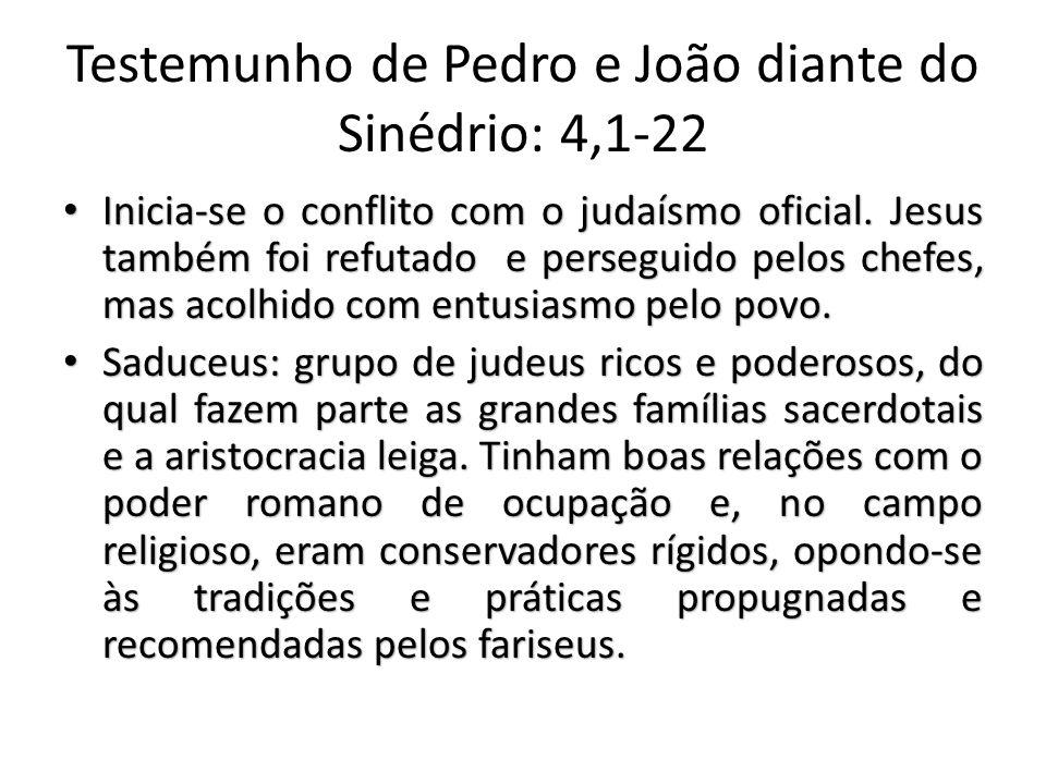 Testemunho de Pedro e João diante do Sinédrio: 4,1-22