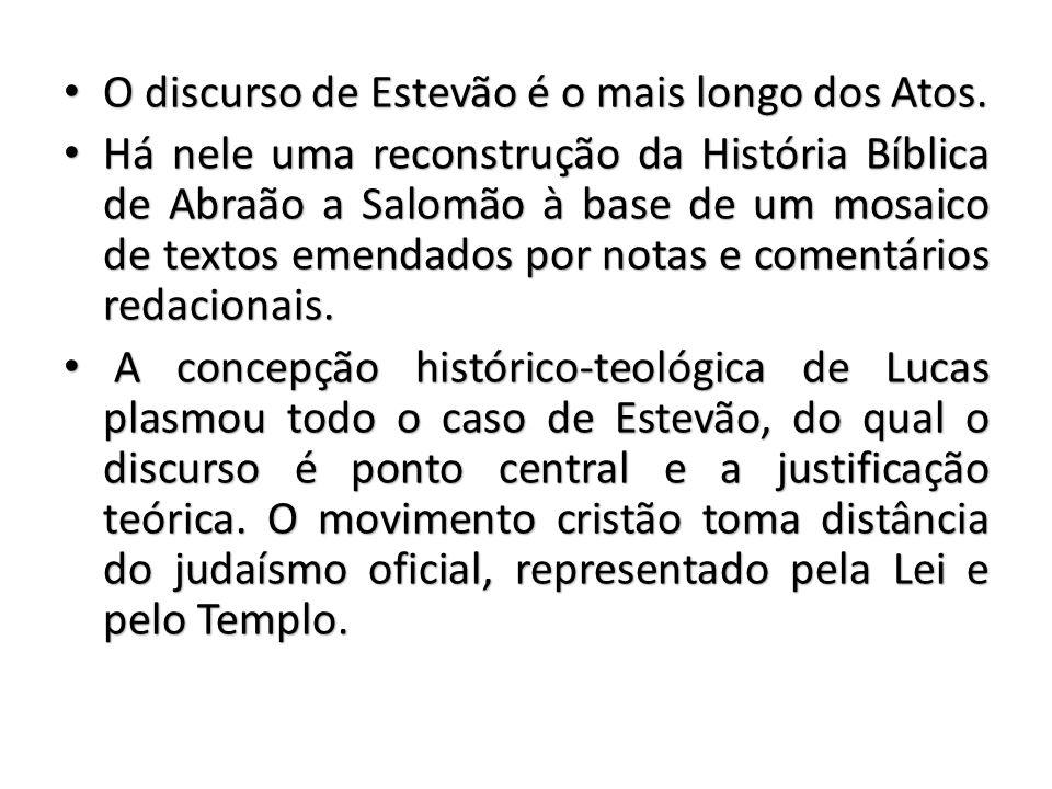 O discurso de Estevão é o mais longo dos Atos.