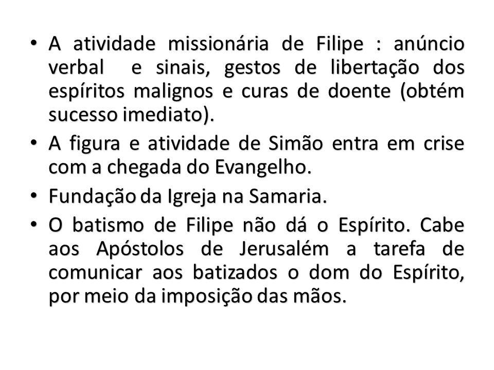 A atividade missionária de Filipe : anúncio verbal e sinais, gestos de libertação dos espíritos malignos e curas de doente (obtém sucesso imediato).