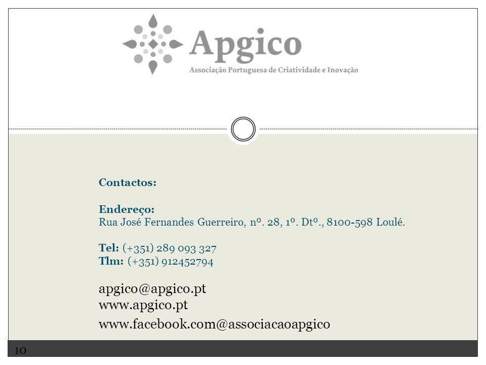 apgico@apgico.pt www.apgico.pt www.facebook.com@associacaoapgico 10