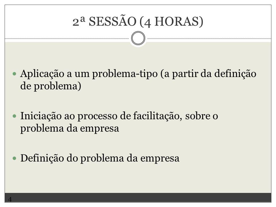 2ª SESSÃO (4 HORAS) Aplicação a um problema-tipo (a partir da definição de problema)