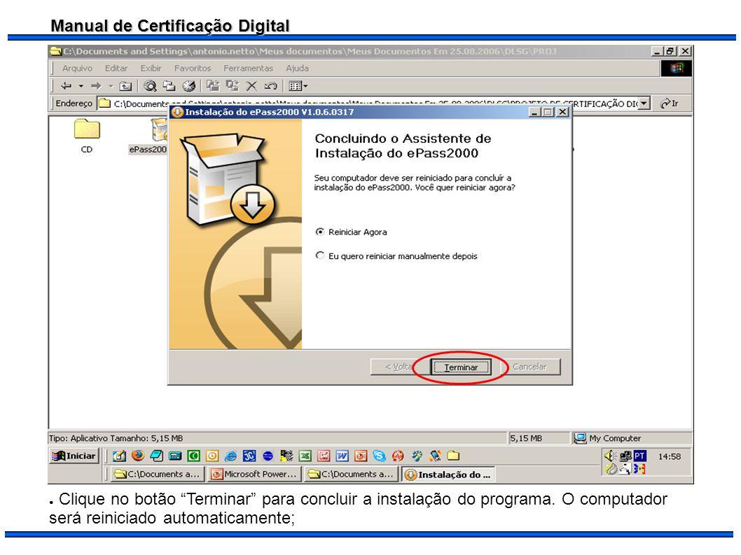 Clique no botão Terminar para concluir a instalação do programa