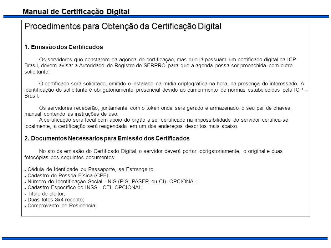 Procedimentos para Obtenção da Certificação Digital