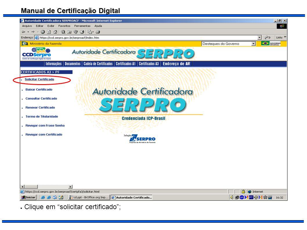 Clique em solicitar certificado ;