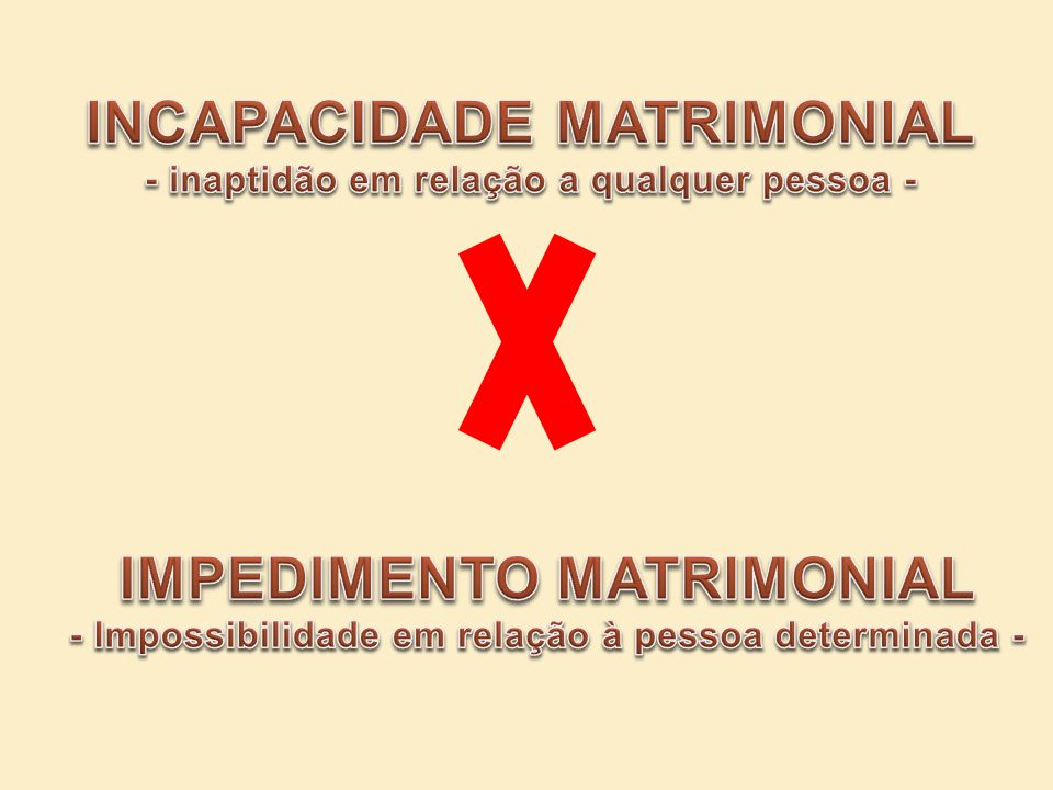 INCAPACIDADE MATRIMONIAL IMPEDIMENTO MATRIMONIAL